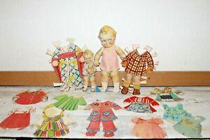 2 Scootles the baby tourist cardboard original Rose O'Neill + 12 outfits
