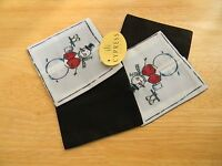 Set Of 4 Wine Glass Coasters With Happy Snowman Serving Wine--nwt