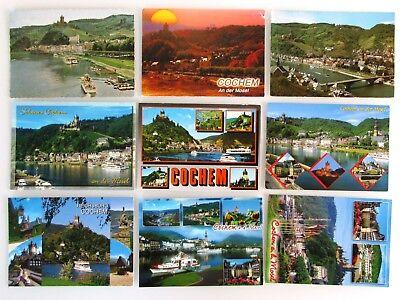 9 X Cochem Ad. Mosel Postkarten Lot Ak Gelaufen, Frankiert Mit Briefmarken
