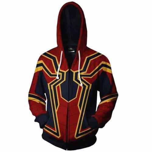 Avengers Infinity Guerre Iron Spiderman Hoodies Veste Hommes Sweater Cosplay Costume