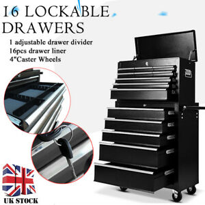 Tool-Box-Roller-Cabinet-Steel-Chest-16-Drawers-Workshop-Pro-Gloss-Black