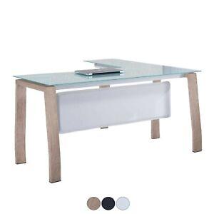 Detalles de Mesa para despacho de cristal, mesa oficina de diseño con patas  metálicas, Blake