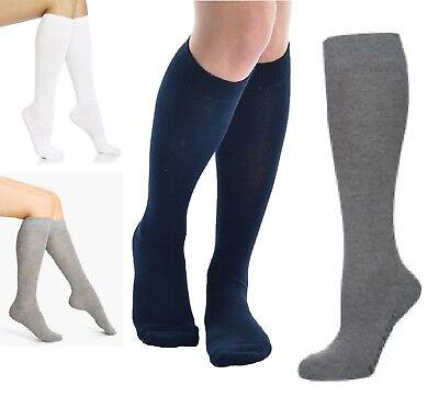 6 Pairs Womens Ladies Girls School High Knee Cotton Plain Long Socks Size 4-7