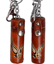 A Pair of Leather ChapStick/toothPick Holder, Pill Case.Giant Eagle, Brown