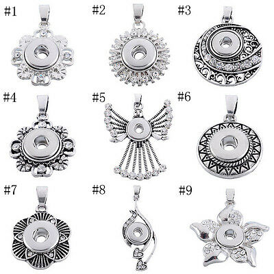 New Charms Pendant Fit Chunk DIY Snap Mini Button Rhinestone Jewelry Necklace