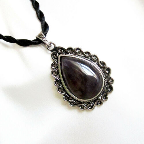 Large Genuine Cloudy AMETHYST Teardrop Shape PENDANT /& Twisted Cord Necklace