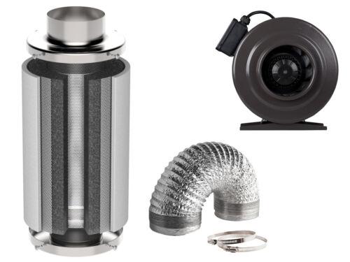 Schlauch 700 m³//h Klima Set mit regelbarem Lüfter Aktivkohlefilter 930 m³//h