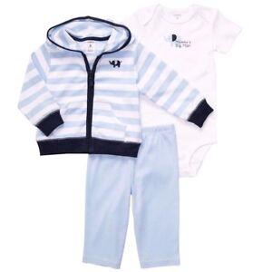 d3d612962 Carters Baby Boys 3 Piece Bodysuit, Zip-Up Hoodie, Pants Set Blue ...