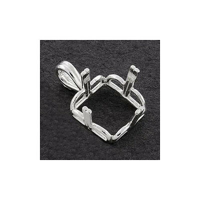 (10mm - 14mm) Square Regalle Pre-notched Solid Sterling Silver Pendant Setting