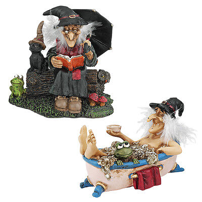 Set of 2: The Witching Hour Fanciful Witches Statue Collection: Reading and Bath