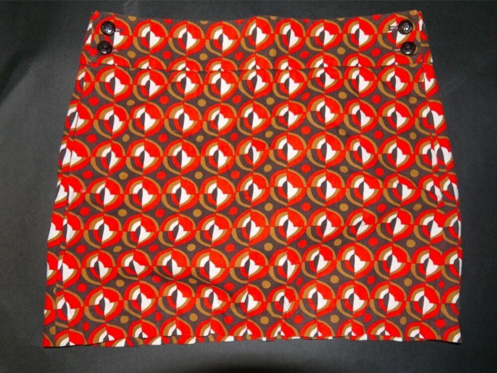 J. Crew orange Optical Print Mini Skirt - Anchor Buttons – Size 6 EUC