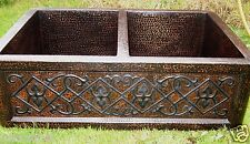 "*Handmered Copper Double Kitchen Sink 33""x22""copper sink Hammered Mexican craft"
