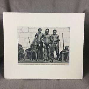 1890-Victorian-Print-Zulu-War-Warrior-Battle-Rorkes-Drift-Original-Antique