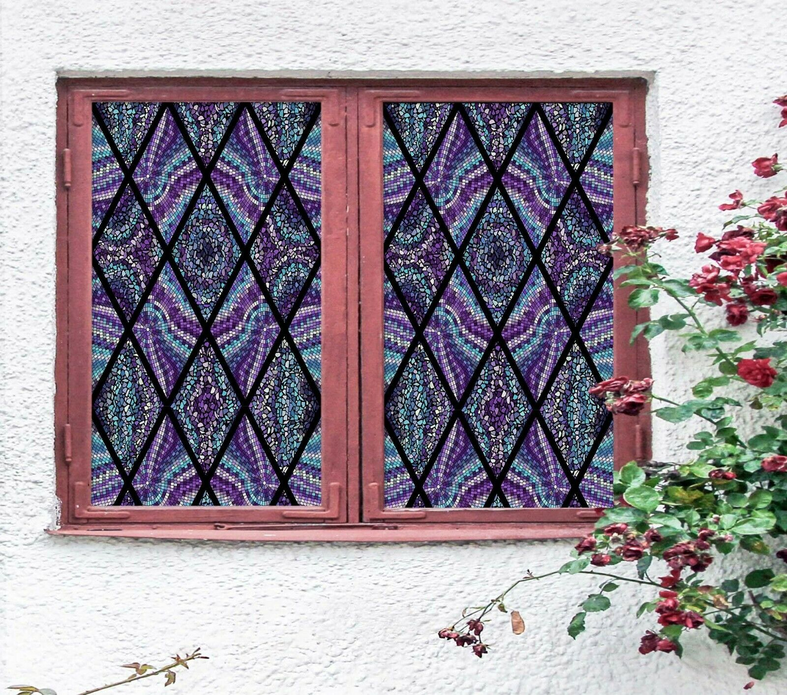 3D lila Graphic N24 Window Film Print Sticker Cling Stained Glass UV Block Amy