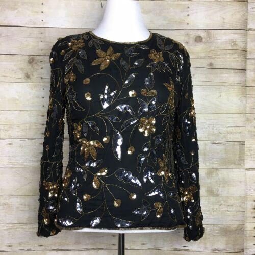 VTG STENAY Silver, Gold and Black 100% Silk Sequin