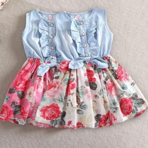 Summer Kids Baby Girl Flower Princess Denim Mini Dress Bow-Knot Party Mini Dress
