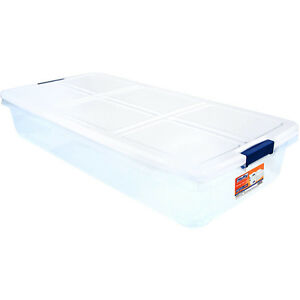 Image Is Loading Under Bed Storage Container 52q Latch Box White