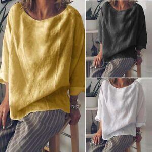ZANZEA-Women-Long-Sleeve-Round-Neck-Casual-Plain-Blouse-Shirt-Tops-Oversize-Tee
