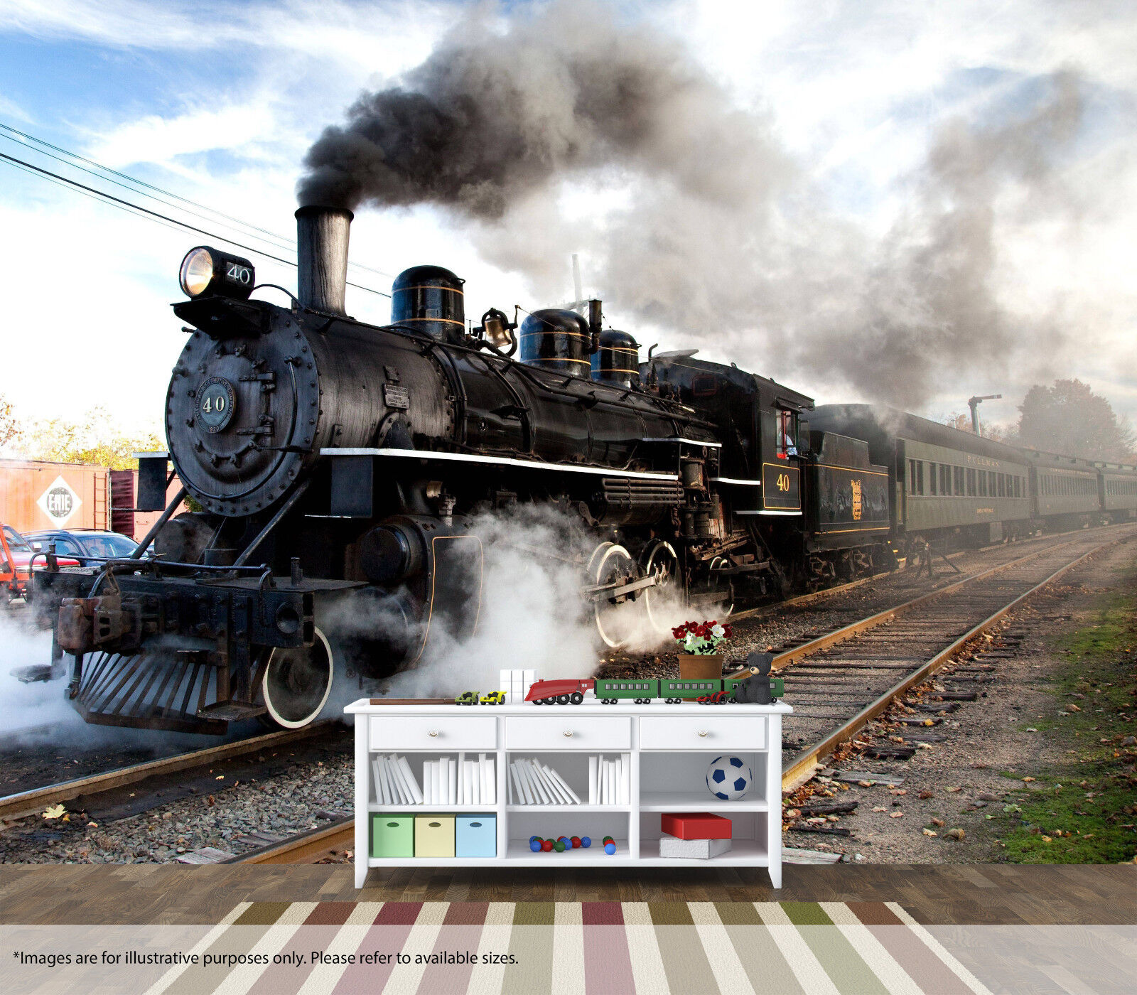 Cool Steam Train Wall Mural Art Quality Pastable Wallpaper Decal