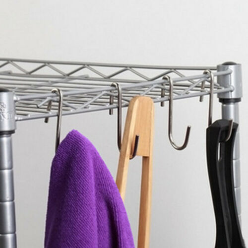 10Pcs S Shaped Hook Stainless Steel Hanging Hooks Hangers for Kitchen @qin