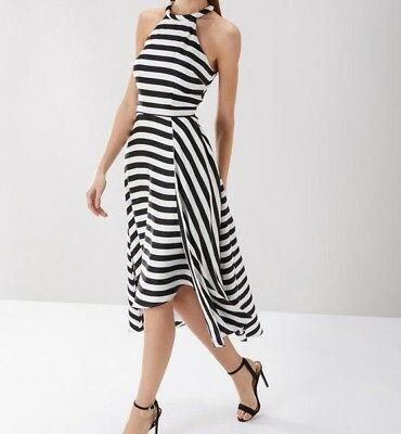 Coast Women/'s White Dillon Stripe Cocktail Midi Party Wedding Dress UK 6 TO 24