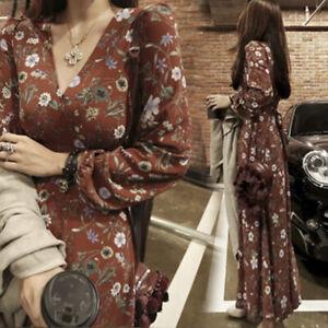 Floral-Women-Maxi-Dress-Chiffon-Long-Sleeve-Beach-Dresses-V-Neck-Slim-Sundress