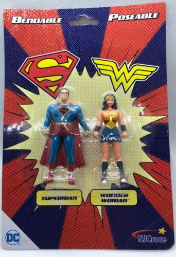 """Action Figures Superman /& Wonder Woman 3/"""" Bendable Poseable dc-3913 NJ Croce"""