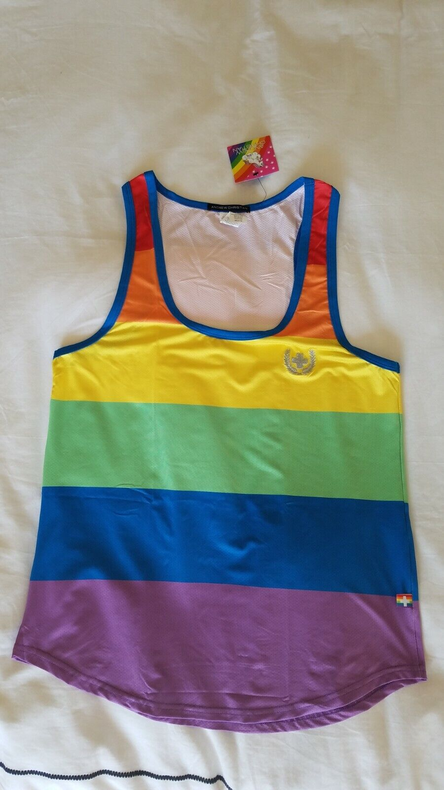Andrew Christian Ultra Pride Tank Top Medium NWT & Bag LGBT Gay