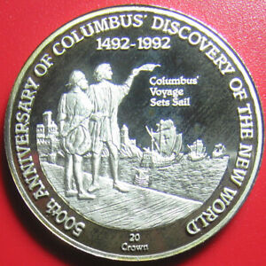 1989-TURKS-CAICOS-20-CROWNS-SILVER-PROOF-COLUMBUS-VOYAGE-SETS-SAIL-SAILING-SHIP
