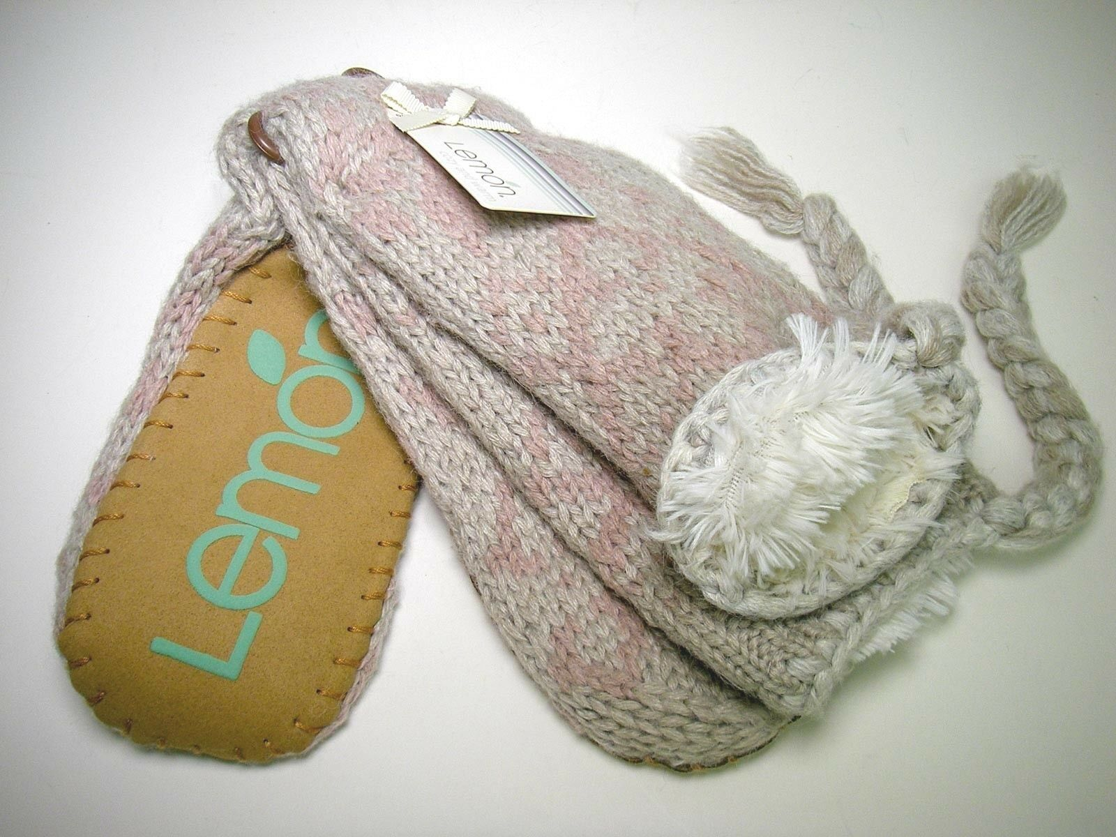 Lemon Brand Fur Lined Knit Pink Gray w Grippers Mukluks Slipper Socks