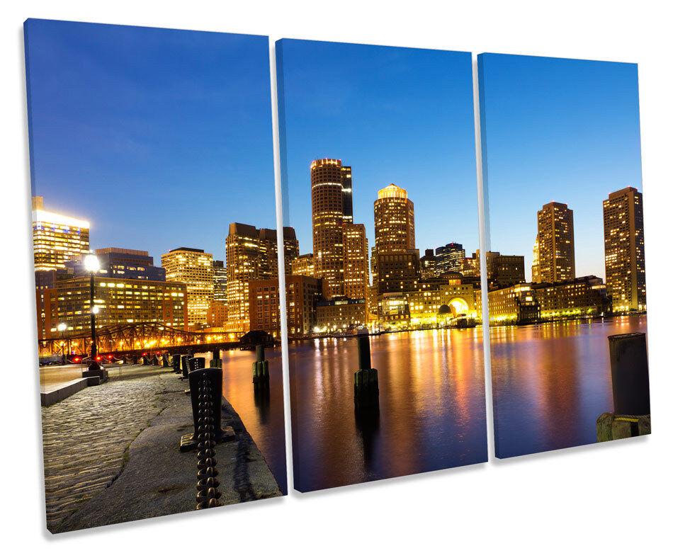 Boston Harbour Massachusetts TREBLE CANVAS WALL ART Box Framed Print