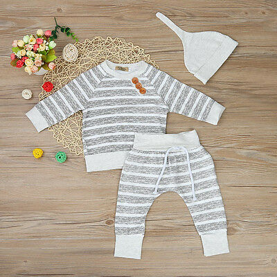 3pcs Newborn Kid Baby Boy Girl Clothes Stripe T-shirt Tops Pants Hat Outfits Set