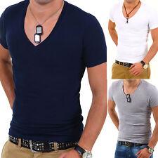 G.B.D. Herren Basic Deep V-Neck T-Shirt Slim Fit Weiß/Schwarz/Grau/Blau/Navy NEU