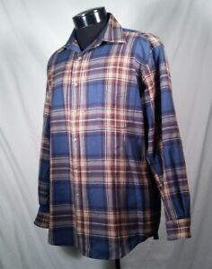 Vtg-Pendleton-Shirt-Wool-Plaid-Board-Blue-Brown-Long-Sleeve-Flannel-Men-039-s-Sz-M