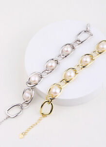 D14 Bracelet Freshwater Pearls IN Anchor Chain 925 Silver Gold Plated