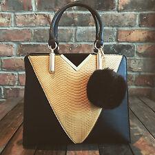 Womens Black & Brown Moda Tote Handbag Faux Leather & Free River Island Gift