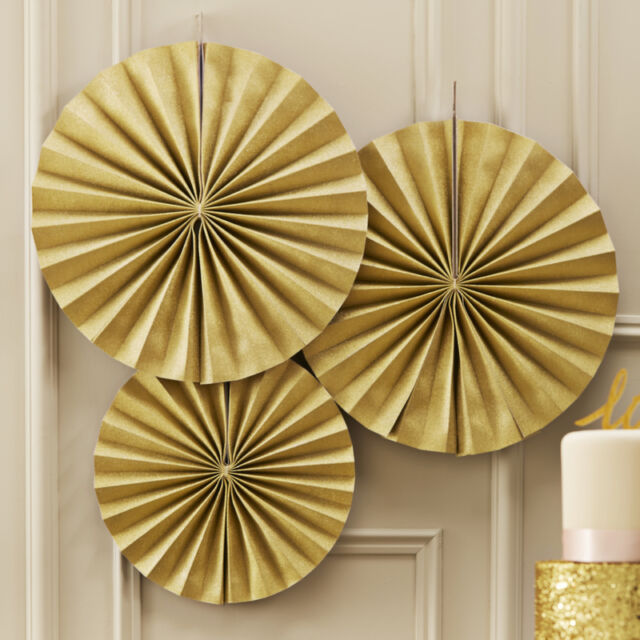 Pastel Perfection Gold Pinwheel Fans, Wedding or Party - pack of 3 Hanging Fans