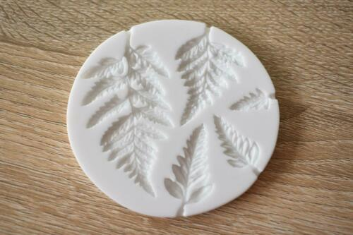 SM1716 Fern Leaves 5 Assorted Sizes Silicone Mould Paperclay Cake fondant Resin