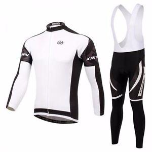Men s Cycling Kit Long Sleeve Cycling Jersey Bib Pants Winter ... 8fda76267