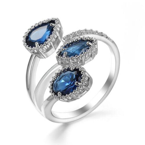 3pc London Blue Morganite Topaz Gemstone Silver Women Jewelry Ring Sizeable 6-10