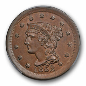 1852-1C-Braided-Hair-Large-Cent-PCGS-MS-63-BN-Uncirculated-Cert-7008