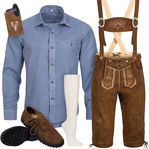 Trachtenset-6tlg-Herren-Trachtenlederhose-mit-Traeger-Hemd-Schuhe-Socken-SK3B1