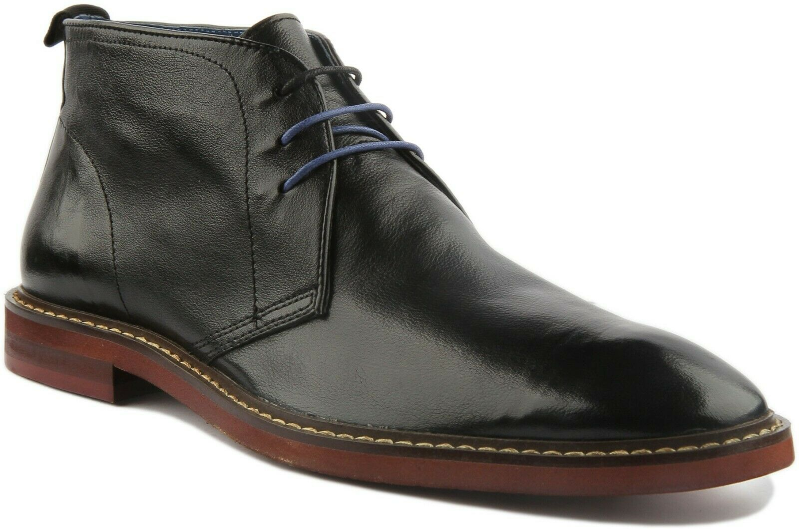 Justin Reece Finley Mens Smart Casual Ankle Boots In Black UK Sizes 6 - 13