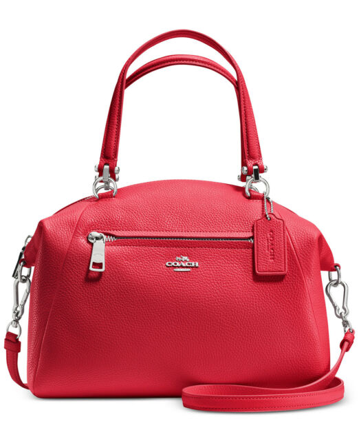 NWT COACH 34340 PRAIRIE SATCHEL IN PEBBLE LEATHER Crossbody BAG $275 True Red