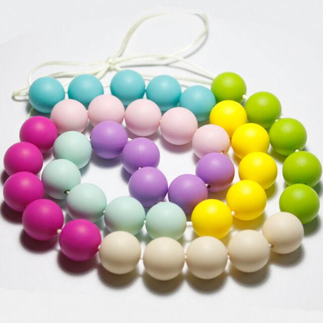 20pcs Baby Silicone Teething Round Beads DIY Necklace Nursing Teether BPA Free