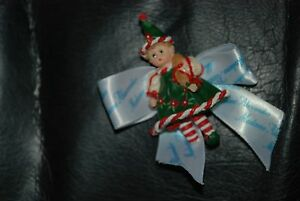 Christmas-Elf-pin-by-Madame-Alexander-New-with-Madame-Alexander-Ribbon