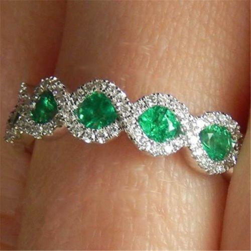 Magnifique Ovale coupe émeraude argent 925 bijoux femme anneaux de mariage Taille 6-10