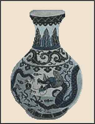 Oriental Blue Vase with Dragon Counted Cross Stitch Chart  No.25-103
