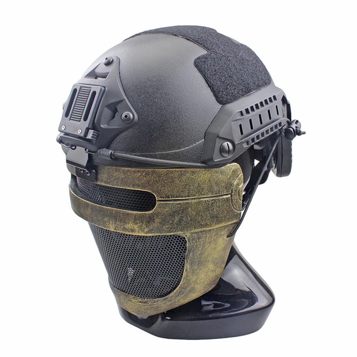 Handmade Wire Mesh Glass Fiber Resin Airsoft CS Half Face mask For Helmet M093