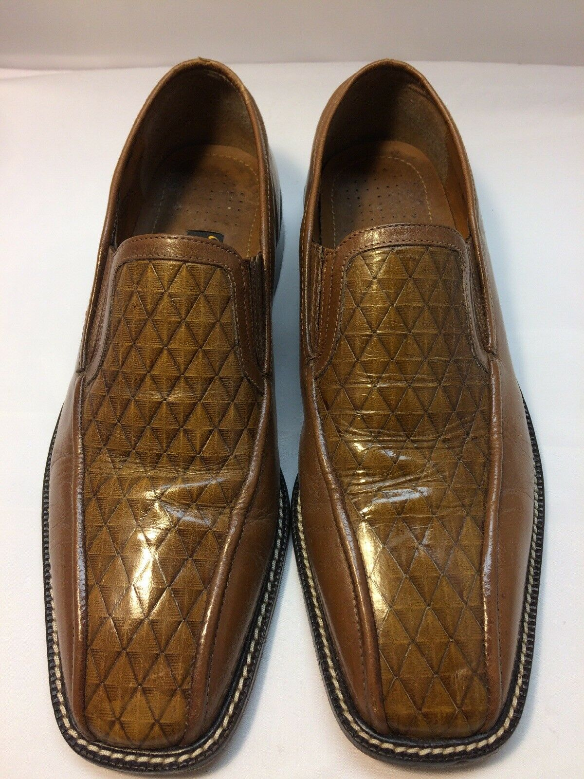 STACY ADAMS Brown Leather Square Toe Slip-On Men's Dress shoes Size 13 M